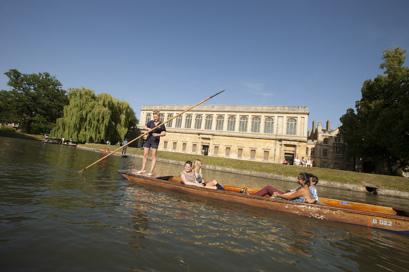 Punting outside The Wren Library